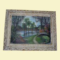 1963 Cypress Gardens Florida Huge Original Oil Painting by Renowned PA Artist Reathie Hummell ~ Highwaymen Era