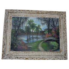 1963 Cypress Gardens Florida Huge Original Oil Painting by Renowned PA Artist Reathie Hummell ~ Highwaymen Era