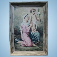 1950s Madonna and Child Jesus Beautiful Oil Painting by Italian / American Church Muralist Painter
