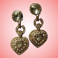 Gorgeous Vintage Rivoli Runway Worthy Dangling Crystal Heart Clip-on Earrings