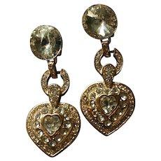 Gorgeous Vintage Rivoli Runway Worthy Dangling Crystal Heart Clip-on Earrings