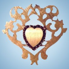 14K Gold & Rubies TCW .90 Heart Ornate Brooch by Legendary French Designer Lucien Piccard