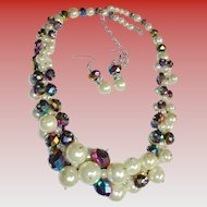 Festive Necklace & Earrings Set Pearl & Blue Iridescent Stunning Demi Parure