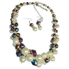 Gorgeous Necklace & Earrings Set Faux Pearl & Blue Iridescent Crystal Stunning Demi Parure