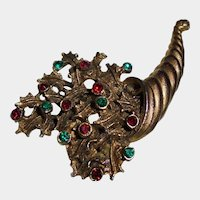 Vintage Gold-Plated Cornucopia Rhinestone Brooch Autumn Fall Berries & Leaves Thanksgiving