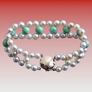 Exquisite 14K Gold Jade & Cultured Pearl Triple Strand Mid-Century Bracelet