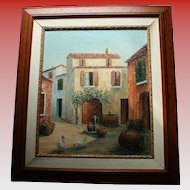 Mallorca Spain Old Winery with Oak Barrels & Chickens Spanish Country Oil Painting Artist Signed & Inscribed