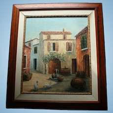 Mallorca Spain Old Winery with Oak Barrels & Chickens Oil Painting Artist Signed & Inscribed