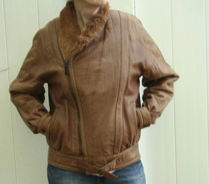 e0f06852b Saks Fifth Avenue Vintage Ladies Brown Italian Leather Aviator Bomber Style  Shearling Collar Sz 38