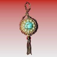 Gorgeous Endura Vintage Watch Pendant Faux Turquoise & Pearls