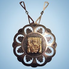 Inca 925 & 18K Gold Peru Pendant / Brooch Necklace Modernist Heart Shape Link Sterling Chain