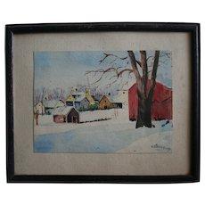 Kansas Artist Grace Bilger Stansbury Signed Watercolor Country Winter Landscape