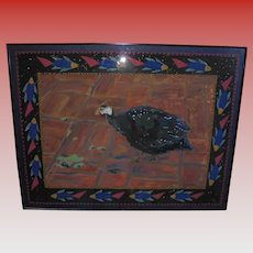 Guinea Hen Fowl & Fish Modernist Mixed Media Gouache Abstract Painting Signed Beckman