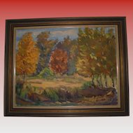 Latvian Artist Janis Silins Large Impressionist Autumn Trees Fall Landscape Oil Painting Listed Artist Signed