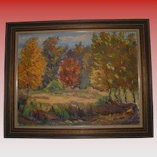 Latvian Artist Janis Silins Large Impressionist Autumn Trees Fall Landscape Oil Painting Listed Artist Signed