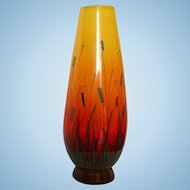 Summer Mid Century Mod Signed Large Eames Era Raymor Yellow to Orange Cattaiil  Scenic Vase Italy MCM