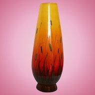 Summer Mid Century Mod Signed Large Eames Era Raymor Yellow to Orange Cattaiil  Scenic Vase Italy MCM