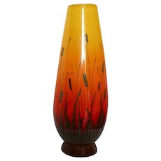 Mid Century Mod Signed Large Eames Era Raymor Yellow to Orange Cattaiil  Scenic Vase Italy MCM