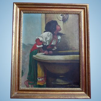 "Enchanting Oil Painting after Leon Bonnat ""Roman Girl at Fountain"" Artist Signed"