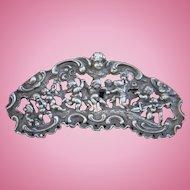 "4"" Wide Sterling Feast of Bacchus Cherubs Angels Scene Sterling Silver Relief Brooch"