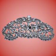 "4"" Wide Sterling Feast of Bacchus Cherubs Angels Scene Sterling Silver Relief Repousse Brooch"