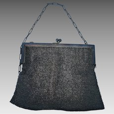 "Hallmarked ""Real Gunmetal France"" Art Deco French Mesh Evening Purse"