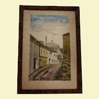 1930 Vika Scandinavian Town Scene Watercolor Painted by Lolla Wessel (b1874 Norway)