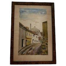 50% Off Sale! 1930 Vika Scandinavian Town Scene Watercolor Painted by Lolla Wessel (b1874 Norway)