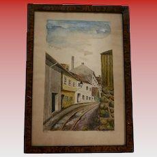 1930 Vika Scandinavian Town Scene Watercolor Painted by Lolla Wessel (b1874 Norway)