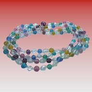 Flapper Length Crystal & Pastel Glass Necklace Stunning!