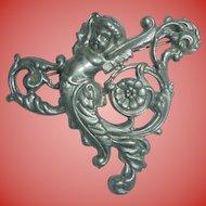 Sterling Silver Cherub Art Nouveau Brooch Angel