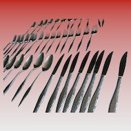 Regent Brutalist Mid-Century Modern Stainless Flatware Service for 8