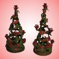 Mid Century Modern NYC Christmas Tree Sculptures Candelabra Trees MCM
