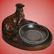 Art Deco Sculpture Borzoi Bronze Painted Figural Dish