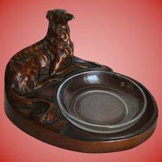 Art Deco Sculpture Borzoi Bronze Painted Figural Dish
