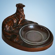 Art Deco Sculpture Whippet Greyhound Bronze Painted Figural Dish