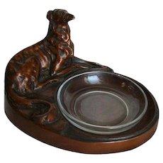 Art Deco Sculpture Whippet Greyhound Bronze Painted Figural Dish