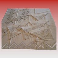 Vintage Never Used w/ Original Label Made in Italy Tablecloth & 12 Napkins Beige Linen Embroidered Cutwork Fancy Beige