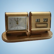 Engravable Mid Century Mod Desk Clock Linden Germany 7 Jewels Date & Time