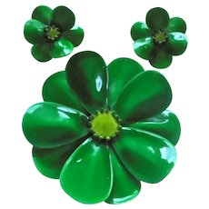 Gorgeous Green Enamel Flower Power Brooch & Earrings Set St Patrick's Day