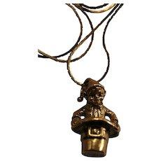 1984 Irish Leprechan Pendant Necklace by Franklin Mint St Patrick's Day
