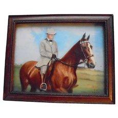1949 3D Painting Theodore Roosevelt On Horseback Portrait Reverse Painted US History President