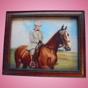 Teddy Roosevelt 1949 3D Painting On Horseback Portrait Reverse Painted US History President
