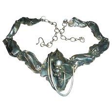 Sterling Silver Mid Century Freeform Necklace Designer Signed Modernist Piece