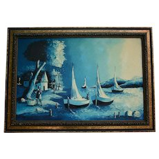 Gorgeous Haitian Moonlight Seascape Fisherman Beach Night Scene Mid Century Oil Painting in Ornate Frame Applied with Roses