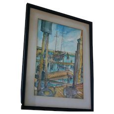 1970 Harbor Dockside Seascape Watercolor and Ink Artist Signed Fishing Boat Pier Drawing Painting