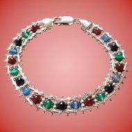 Sterling Gemstone Milor Italy Bracelet Silver