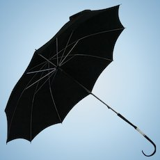 Vintage Black Parasol Umbrella with Mother of Pearl Lucite Accent Handle