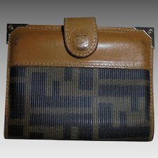 Vintage Fendi FF Logo Card Case Wallet Coated Canvas Tan Leather Trim