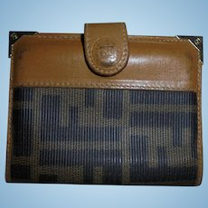 Vintage Fendi FF Logo Card Case Wallet Coated Canvas Tan Leather Trim